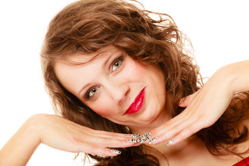 Portrait young woman with beauty long brown curly hair isolated