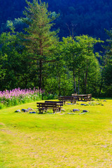 Picnic table and benches in Norway, Europe.