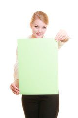Ad. Businesswoman holding blank copy space banner
