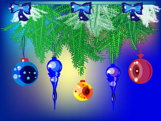New Year's background with toys.-