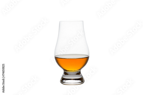 Aluminium Bar Isolated Whiskey in a Crystal Tasting Glass