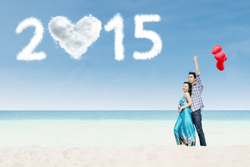 Newlywed couple honeymoon in new year