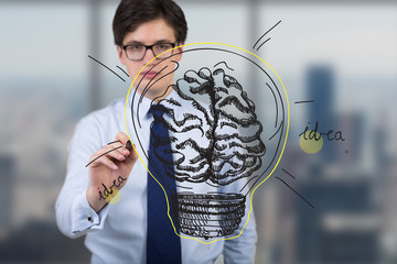 businessman drawing brain lamp