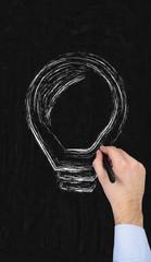 hand drawing lightbulb