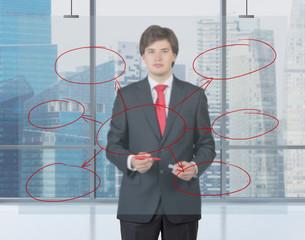 businessman drawing cloud chart