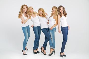 Beautiful young women posing together