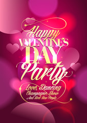 Valentine day party design with pink bokeh hearts.