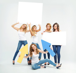 Attractive and cheerful women promoting something