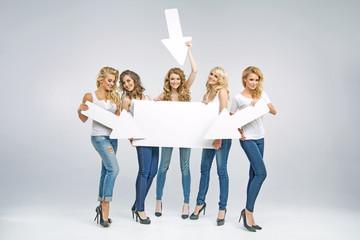 Portrait of attractive women promoting sale