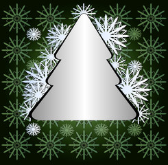 christmas  tree with snowflakes on green texture