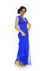 Beautiful girl with glasses and blue dress.