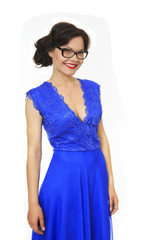 Beautiful girl with glasses and evening dress.