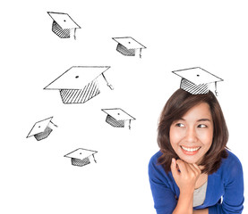 Asian woman thinking about graduate