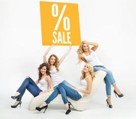 Picture of attractive women promoting sale