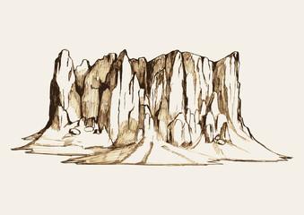 Sketch illustration of a rocky mountain