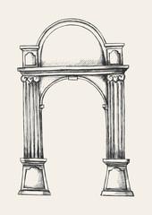 Sketch illustration of column gate