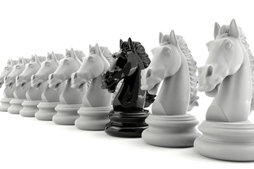 Black knight chess among white knight chess