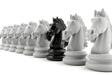 Black knight chess among white knight chess