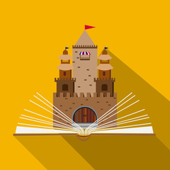illustration of a fairy-tale castle of an open book
