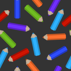 seamless pattern of colored pencils scattered