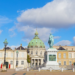 King Frederick V statue and Frederik's Church in Copenhagen