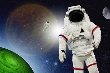 Astronaut Wearing Pressure Suit in a Space Background