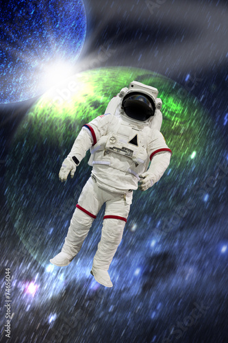Astronaut Wearing Pressure Suit in a Space Background - 74656044