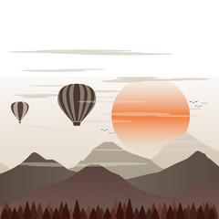 Balloon Travel across Valley Landscape vector