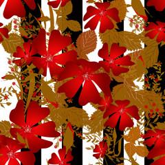 Flowers retro seamless pattern striped background