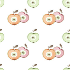 Apple seamless pastel colors pattern fruits texture background