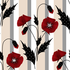 Seamless floral pattern with red poppies background