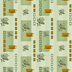 Patchwork seamless pattern with geometric elements and cup of co