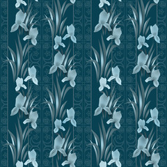 Floral pattern with irises background