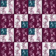Patchwork seamless floral irises pattern background
