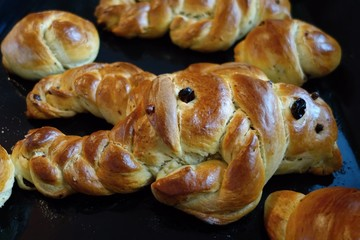 Sweet bread pastry devil on St. Nicholas day, horizontal