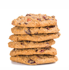 Stack of homemade cranberry oatmeal raisin cookies
