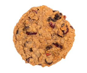 Cranberry oatmeal raisin cookie isolated on white