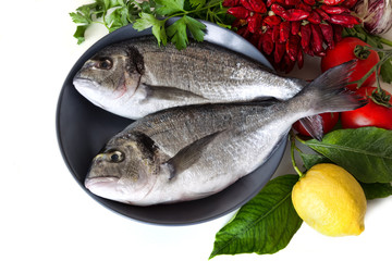 Fresh sea bream on plate with lemon, tomatoes and herbs