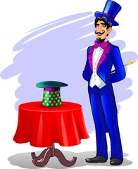 Man dressed as a magician with wand and hat