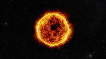 Sun surface with solar flares. 3D animation