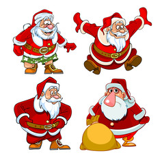 set of different Santa Claus