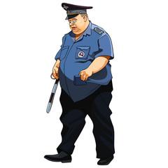fat man in a police uniform traffic police