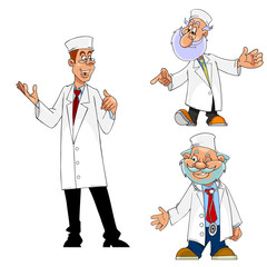 cartoon doctor, physician, paramedic, set