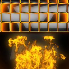 hot black metal background with fire