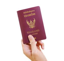 Hand with thai passport