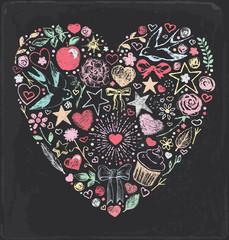 Hand Drawn Vintage Chalkboard Romantic Heart Elements