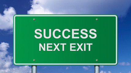 Success next exit road sign