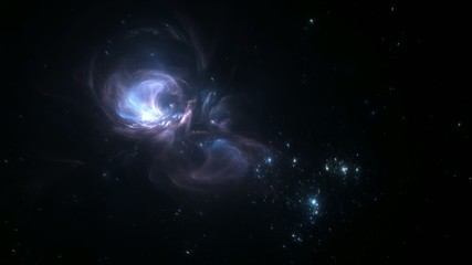 Flying into a blue and dynamic nebula in the outer space
