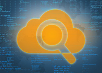 large cloud icon with a magnifying glass on an abstract