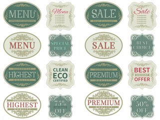 Vector set  of retro  labels and vintage  border